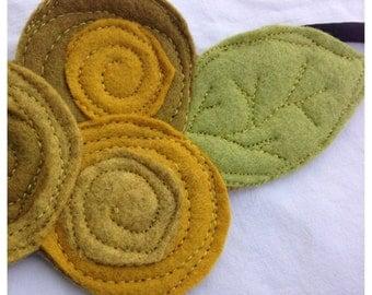 40% FLASH SALE- The Little Garden Bloom- Felt Headband-Brooch-Yellow Triple Bloom