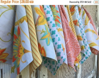 35% OFF CRAZY SALE- Garden Cloth Napkins-Upcycled Vintage Bed Linens