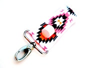 Chapstick holder, lip balm keychain, White with Pink and Orange and Navy Aztec