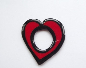 ON SALE Vintage black and red floating heart pendant