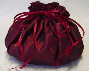 Jewelry pouch Burgundy jewelry tote embroidered silk satin