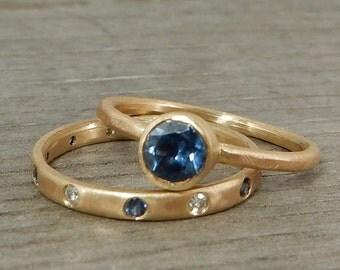 Sapphire Stacking Rings - Fair Trade Malawi Blue Sapphire, Moissanite, and Recycled 14k Yellow Gold Rings - Wedding/Engagement - size 6