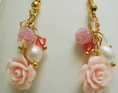Freshwater Pearl Swarovski Candy beads  Glass cabochon earrings