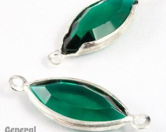 7mm x 15mm Silver/Emerald Navette Rhinestone Connector (10 Pcs) #XSR122