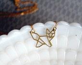 geometric raw brass laser cut fox necklace- modern woodland- vintage brass- laser cut animal