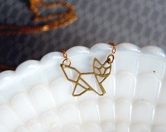 geometric raw brass laser cut fox necklace- modern woodland- vintage brass- laser cut animal