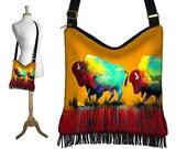Clara Nilles Hippie Bag Hobo Purse Crossbody Slouch Bag Gyspy Boho Fringe Bag, Buffalo Bison Southwestern Zipper Orange Blue Red Fabric RTS