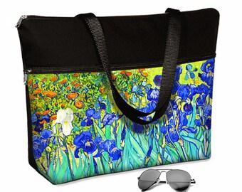17 inch Laptop Bag avail with shoulder straps / Van Gogh Irises Floral Laptop Tote Bag / Women's Briefcase / Zipper, Blue, Orange  MTO