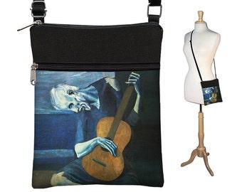 Small Crossbody Bag Cross Body Purse Boho Bag Goth Fabric Handbag Fine Art Bag Old Guitarist Pablo Picasso Guitar Blue Brown Black RTS