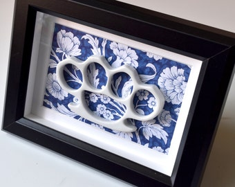Framed China Knuckles - White Porcelain on Blue
