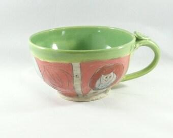 Big Ceramic Soup Mug, Handled Bowl, Bowl with Handle, Unique Coffee Mugs,  Latte Cup  353