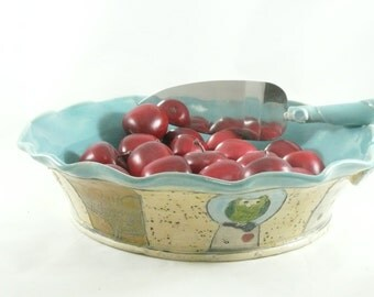 Bakeware - Pie Baking Pan or Casserole Dish - Quiche Pan - Blue baking dish - Ceramic Pie Pan 452
