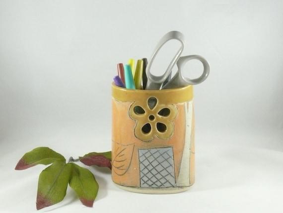 Ceramic Pencil Cup, Soap Dispenser with Owl, Toothbrush Holder, pottery vase, Pen Holder, Desk Accessories, Hand Built Ceramic Vessel 526