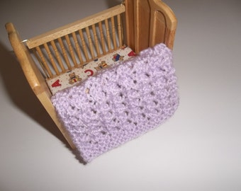 Miniature Blanket, Lavender Miniature Crib Doll House Blanket/Afghan - One Twelfth Scale