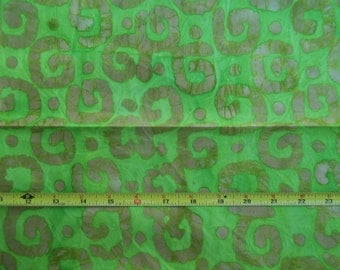 Lime Green and Tan Spiral BATIK 100% Cotton Quilting Skirt 44-45 Wide 1 yd. 30 inches