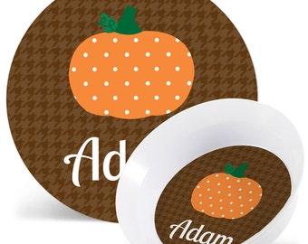 Thanksgiving Plate - Pumpkin Plate or Bowl - Child's Plate - Child's Bowl - Melamine Bowl or Plate Personalized (Plastic)