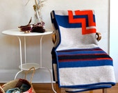 Reserved for L Only Wool Blanket Classic Stripes & Cross Blue Black Red Blue Heather Light Brown
