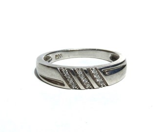 Vintage Diamond Band Engraved Sterling Silver Wedding Ring Band