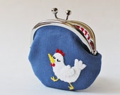 Coin purse / change purse - snooty white hen on blue linen kiss lock coin purse chicken farm animal clasp purse children kids quirky red