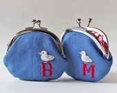 Personalized coin purse custom initial kiss lock coin purse red letter white bird on blue linen nautical sea seagull children birthday gift