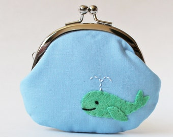 Coin purse kiss lock change purse green whale on light blue kawaii cute animal sea ocean baby blue pouch