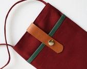 small shoulder sling bag - warm brick + moss