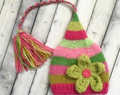 SALE 3 - 6 month Baby Girl FLoWER Hat Knit PHoTO PRoP Girly Stocking Cap LoNG TAiL Hot Pink Lime Green Stripe BeANiE TaSSeL FCN Toque GiFT
