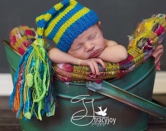 Knit Newborn Baby Boy Hat BaBY PHoTO PRoP Huge Tassel Stocking Cap Blue Lime Stripe Orange Toque CHooSE CoLORs Coming Home CHuCKLeS BeANiE