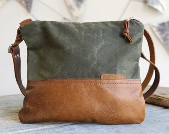 Waxed Canvas and Leather Crossbody Bag Olive / Handmade Leather and Canvas Purse / Cross Body Bag with Strap