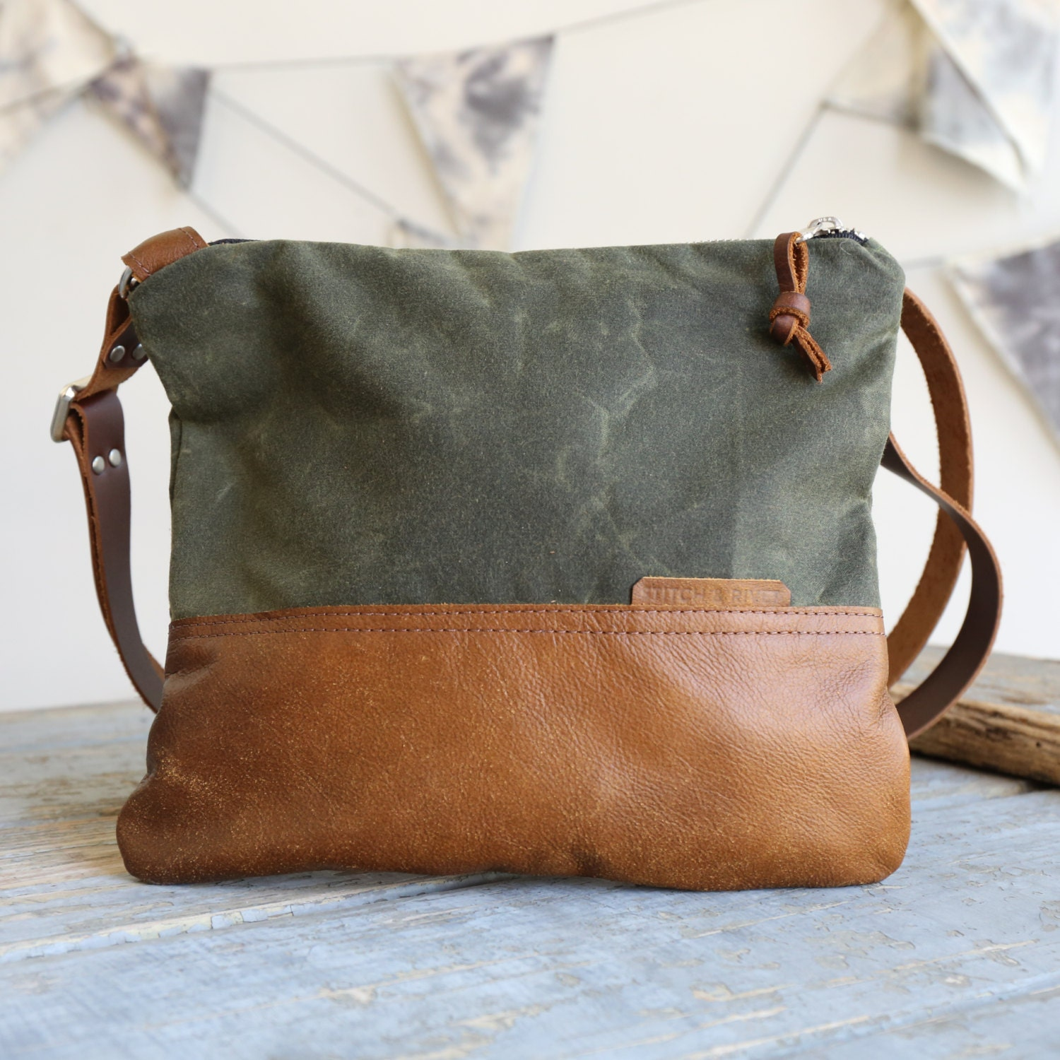 Waxed Canvas And Leather Crossbody Bag Olive Handmade