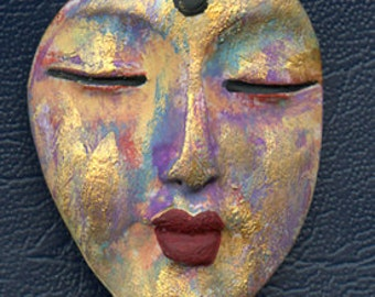 Polymer Clay Buddha  Abstract One of a Kind Face  Cab   BNBD 3