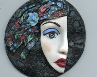 Polymer Clay 3 Inch One of a Kind  Large  Face  Medallion BWP 1