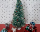 7-3/4 Inch Miniature Vintage Look Christmas Tree with Bead Ornaments, Beaded Garland, Star, Mica Flakes Shabby Country Christmas Decorations