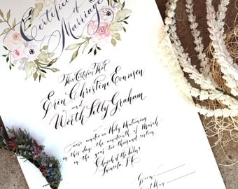 Marriage Certificate, Watercolor flowers and Modern Calligraphy - One of a kind Wedding