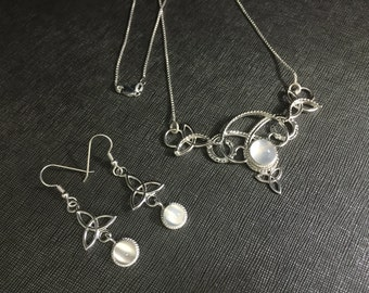 Celtic Irish Handmade Necklace snd Earring Set with Moonstones in Sterling Silver