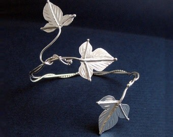 Ivy Leaf Wrap Bracelet Cuff, Handmade Sterling Silver Bracelet Cuff, Woodland Leaves Cuff, OOAK Cuff Bracelet Wrap - 925 Handmade