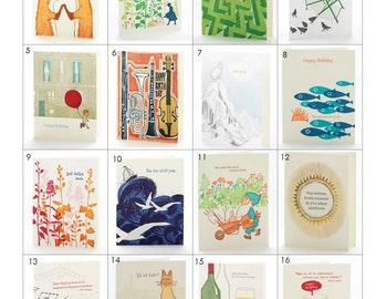 Buy 4 Get One Free - Letterpress note cards size 4.5 x 5.5 inches