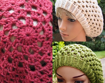 Womens Crocheted Beret Hat Tam - custom made to order