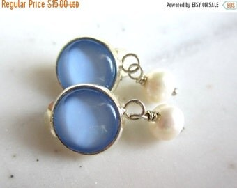25% SALE Light Blue and White Pearl Clip On Earrings. Baby Blue Clip On Earrings. Blue Dangle Clip Ons.