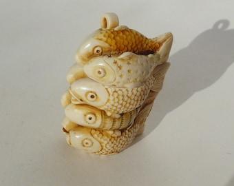 Vintage Hand Carved Netsuke Fish Vessel Necklace Bone Container