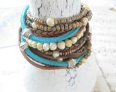 Lovely Boho Leather, Freshwater Pearl and Seed Bead Wrap Bracelet or Necklace, Multi Strands of Leather in shades of Teal and Natural Brown