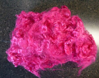 Neon Pink Hand Dyed Primo Kid Mohair Locks One Ounce Spinning Carding Spinning