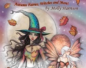 Autumn Magic GRAYSCALE Halloween Coloring Book - Molly Harrison - Witches, Vampires, Fall Fairies, wiccan