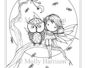 Little Fairy, Owl, Fireflies, Moon - Coloring Page - Printable - Whimsical and Cute - Molly Harrison Fantasy Art - Instant Download