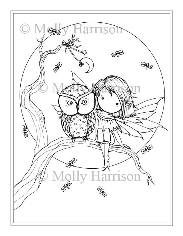 Little Fairy Owl Fireflies Moon Coloring Page Printable