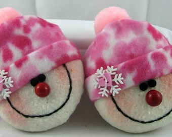 Snowman Ornaments, Christmas Decorations, Set of 2 Stuffed Snowman, Snowheads, Christmas Ornaments, Snowball, Pink and White Fleece
