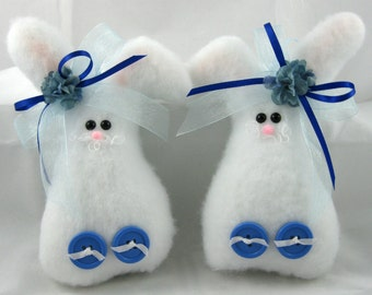 Easter Bunny Set of 2, Bunny Ornaments, Easter Decoration, Stuffed Bunny, Bunny Decoration, Plush Bunny, Blue Trim