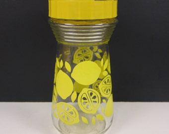 Vintage Lemonade Pitcher Carafe Yellow Printed Lidded 24 Ounces Lemon Print Retro