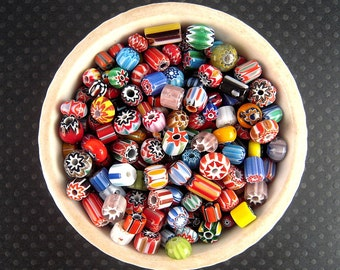 Tiny Chevron Glass Bead Mix, 2 Ounces, 3mm,10mm, Chevron Bead Soup, HUGE Variety, Chevron Rondelle, Chevron Spacer Beads X02