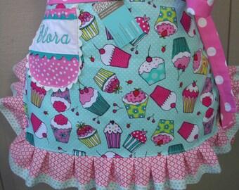Aprons - Womens Cupcake Aprons - Monogrammed Aprons - Blue cupcake Aprons - Girls Cupcake Aprons - Mommy and Me Aprons - AnniesAttic Aprons